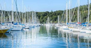 Sistiana, Trieste, Italy - July 28, 2015: Pleasure Boats moored in the harbor.